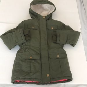 Girls Cat & Jack olive green military Parka jacket